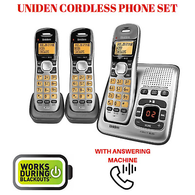 Uniden DECT1735+2 Three Handset Cordless Home Phone W/ Answering Machine Telepho