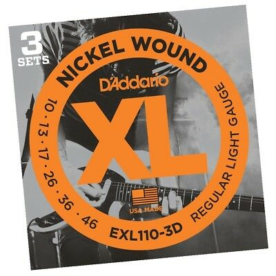 D'Addario EXL110-3D 3-Set Electric Guitar Strings Light Daddario EXL110 10 - 46
