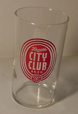 Schmidt's City Club Logo St Paul MN Brewery Beer Glass 4  Inch Taveran Style