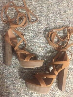 f492613f833 STEVE MADDEN LADIES Lace-up Suede Heels Size 9 -  20.00