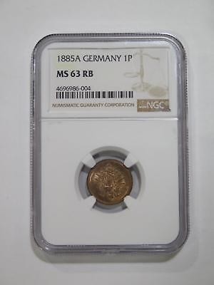 Germany Empire 1885 A 1 Pfennig Ngc Ms63 Graded Toned World Coin Collection Lot