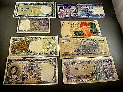 World currency Lot Collection Asia Vietnam India Rupee Pakistan Indonesia mixed+
