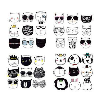 Washable Heat Transfer Stickers Iron On Appliques DIY Printing Cute Cat Patches