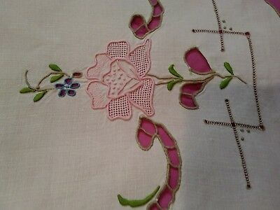 Madeira Embroidered and Cutwork 34 by 15 inch Linen Table Runner