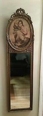 Louis Xv Style French  Gilt Framed Madonna And Child Trumeau Mirror