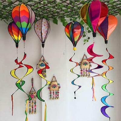 Striped Rainbow Windsock Hot Air Balloon Wind Spinner Multi-Colored Garden Decor