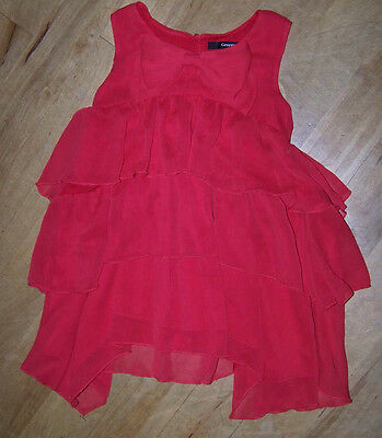 Gorgeous Girls Red Ruffle Top With Bow Trim. Age 5-6.