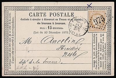 France 1876 Postcard To Nesle Somme   Vf