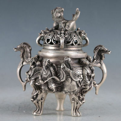 Chinese Silvering Copper Unicorn Incense Burner Made During The Qianlong Period
