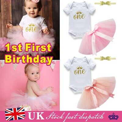 Baby Girls 1st First Birthday Outfit Cake Smash Tutu Skirt Top Headband Suit