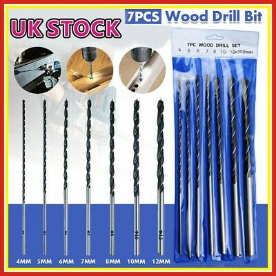 7pcs 300MM Long Wood Drill Bit Set 4mm 5mm 6mm 7mm 8mm 10mm 12mm Brad Point