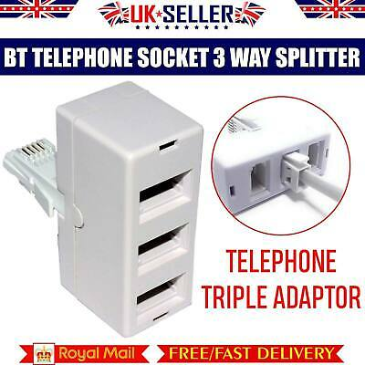 3 Way BT Telephone Splitter Triple Socket Y Adapter RJ11 Male Plug to 3 RJ11