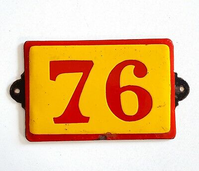Antique Vintage French Enamel Porcelain Door House Gate Number Sign Plate 76