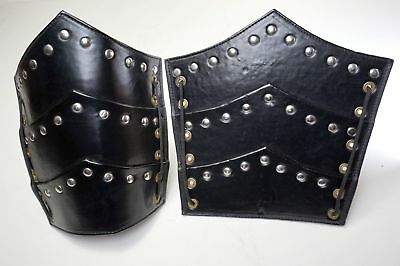 ANCIE Medieval warrior Leather Bracers Arm Guards Costume Dress up Knight Battle