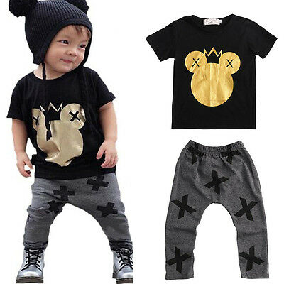 Toddler Kids Baby Boys Mickey Mouse Short Sleeve Top + Harem Pants Outfits Set