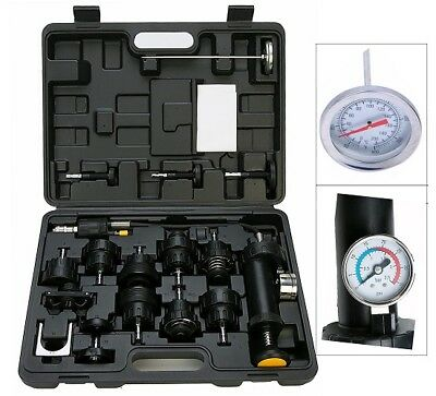 18pc Auto Cooling System Radiator Cap Pressure Tester Kit Pump Gauge Adapter NEW