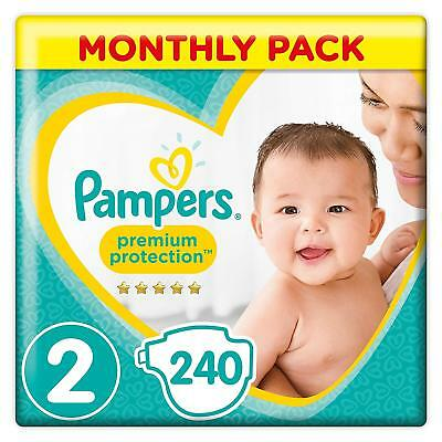 Pampers Nappies Size 2 Monthly Pack of 240 Premium Protection Soft Dry Stretchy