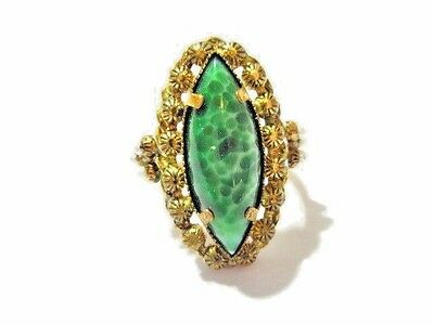 Chinese Oriental Inspired Green And Faux Seed Pearl Oval Ring Vintage Adjustable