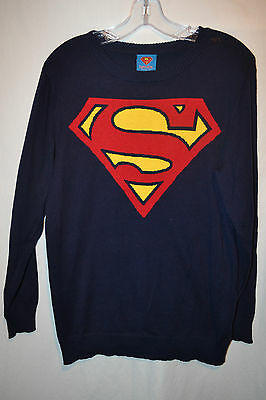 Superman Boy's Navy Pullover Sweater---Large (14)