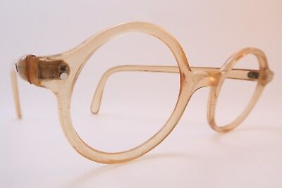 Vintage 30s eyeglasses frames clear yellow off round handmade in France SUPERB