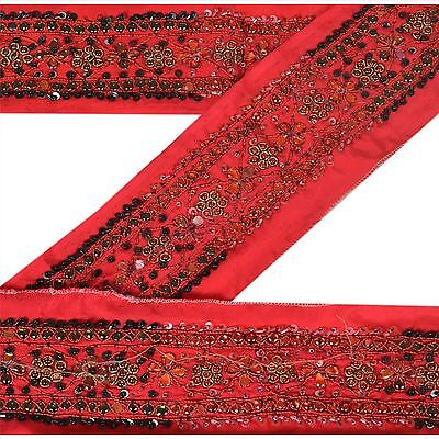 Vintage Sari Border Antique Hand Beaded 1 YD Indian Trim Sewing Pink Kundan Lace