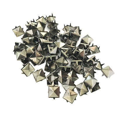 100Pcs Punk 8mm Square Pyramid STUDS RIVETS Rock Bag Belt Leathercraft Black