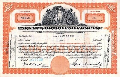 1929 Packard Motor Car Company of Michigan Stock Certificate -orange #67512