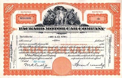 1930 Packard Motor Car Company of Michigan Stock Certificate -orange