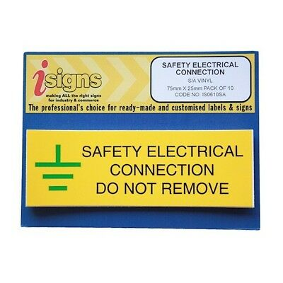 2 x Yellow Self Adhesive label Safety Electrical Connection EARTH 50mm x 60mm
