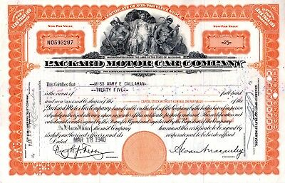 1940 Packard Motor Car Company of Michigan Stock Certificate -orange