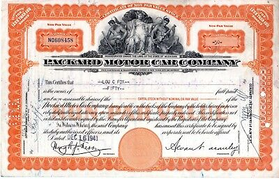 1941 Packard Motor Car Company of Michigan Stock Certificate -orange - tears