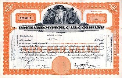 1953 Packard Motor Car Company of Michigan Stock Certificate - orange