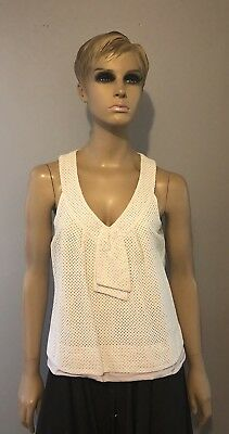 Marc By Marc Jacobs White Off White Cotton Eyelet Sleeveless Front Tie Top - L
