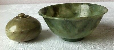 Antique Chinese Spinach Green Jade Translucent Carved Bowl & Trinket Snuff Box
