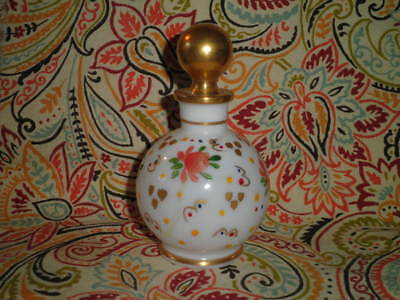 Antique Opaline Glass Hand Painted Floral Perfume Scent Bottle