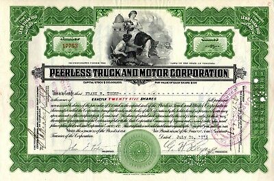 The Peerless Motor Car Corporation of Virginia 1933 Stock Certificate - green