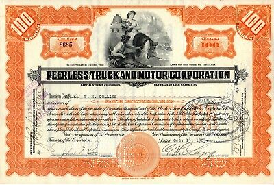 The Peerless Motor Car Corporation of Virginia 1923 Stock Certificate - orange