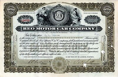 REO Motor Car Company of Michigan 1916 Stock Certificate Serial # LO4792