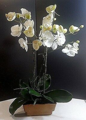 VINTAGE BRUSH-McCOY GLAZED POTTERY PLANTER WITH ARANGEMENT OF ARTIFICIAL ORCHIDS