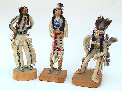 Collection of 3 Native American Indian Dolls Plains Sioux Beaded Trading Post
