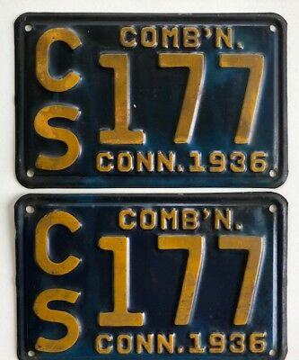 1936 Pair  Connecticut License Plates Ford Buick Packard Crysler Cadillac Truck