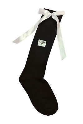 New Girls Knee High Plain Long Socks With Satin Bow Kids Fashoin Back To School