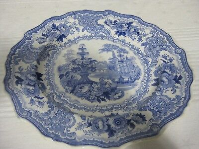 "Antique Adams ENGLISH SCENIC Blue and White 10.5"" Dinner Plate River Scene"