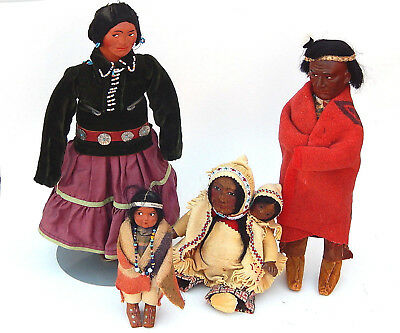 Vtg. Collection of 4 Native American Indian Skookum Dolls Beaded Trading Post