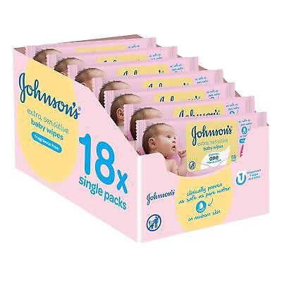 Johnsons Extra Sensitive Wipes Fragrance Free 18-Pack = 1008 wipes Disposible