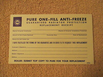 Pure Gas Station Coupon Gauranteed Anti - Freeze