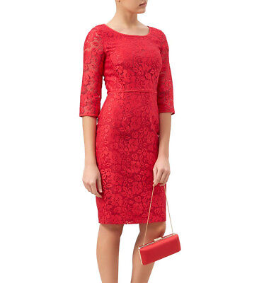 "Hobbs""jade"" Red Floral Lace Lined Wedding Occasion Dress Bnwt Rrp £199 Uk 8 Us 4"