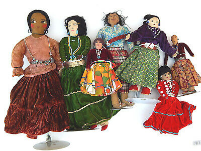 Vtg. Collection of 7 Native American Indian Navajo Rag Doll Trading Route 66 Era