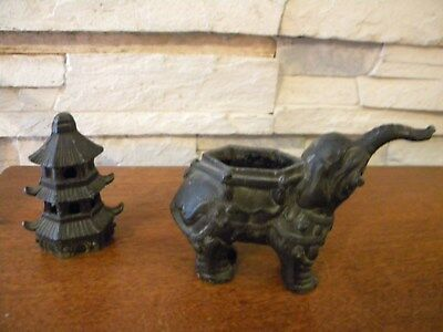 Incense burner, 1800s elephant and pagoda.  Cast iron.  Vintage