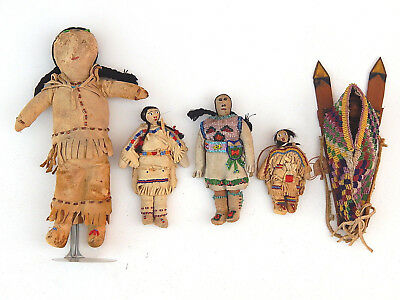 Vtg. Collection of 5 Native American Indian Sioux Plains Beaded Hide Dolls